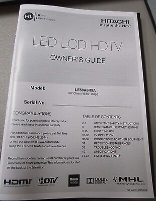 Hitachi Led Lcd Hdtv Owner's Guide Model Le50A6R9A New