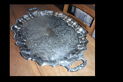 Large Poole Handled Footed Silver Plate Serving Tray Signed c 1950