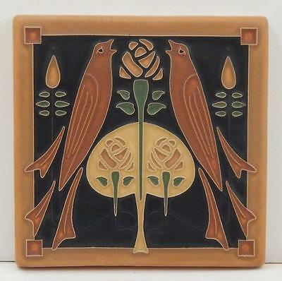 6x6 Arts & Crafts Songbirds Tile in Dark Oak by Arts & Craftsman Tileworks