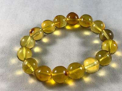 DOMINICAN AMBER CLEAR BRACELET GREEN MIX UNIQUE STONE GEM 13.5g 11-12mm