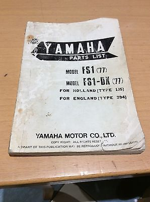 Yamaha FS1 Parts List