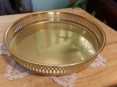 "Scandia Guld/Gold 24k Gold Plated Serving Dish/Tray/ 8"" Across Reticulated Used"