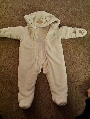 Baby white snowsuit, fits 6-9 months