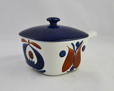 LIDDED CERAMIC PAN with POLKA DESIGN by MARIANNE WESTMAN for RORSTRAND SWEDEN