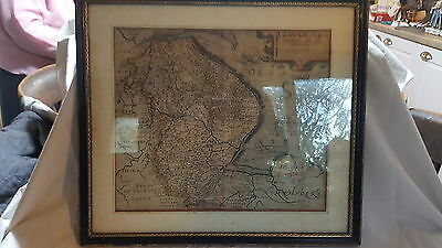 Saxton & Kip 17th century vintage antique picture framed map of Lincolnshire