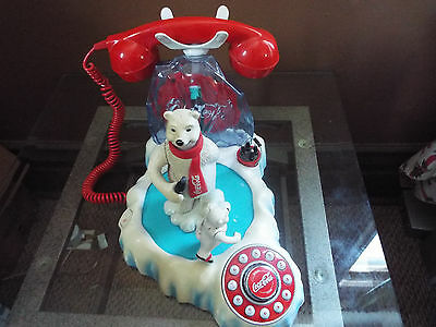COCA COLA ANIMATED POLAR BEAR PHONE Musical Cubs Vintage Semi-Complete COKE