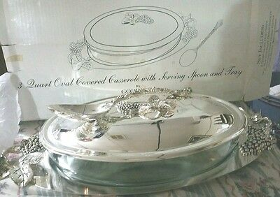 Godinger Silverplate Grape & Leaf 3 Qt Oval Covered Casserole Dish With Tray