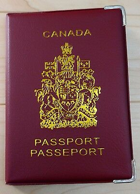 Canadian Canada Plastic Vinyl Passport Cover Protector Holder Sleeve - Red