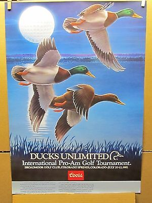 Vintage Coors Ducks Unlimited Int'l Pro Am Golf Tournamant Beer Poster 1987