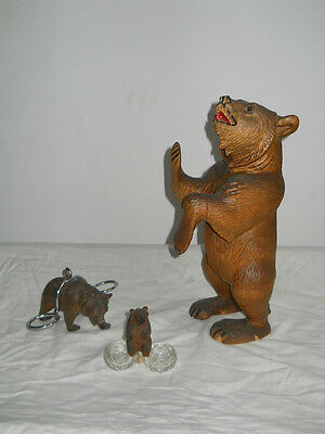 3 x antique carved black forest bear - germany
