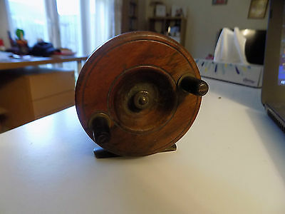 Vintage Wooden Fishing Reel With Brass Attatchments V.good Working Condition