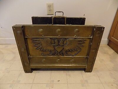 Antique Vintage Fireplace Log Holder With Russian Imperial Double Head Eagle
