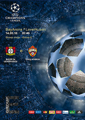 Program Pirate Bayer 04 Leverkusen Cska Moscow Uefa Champions League 2016 2017