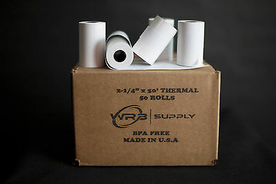 "2 1/4"" x 50' Thermal Credit Card POS Register Paper, 50 Rolls (EE-PP50)"