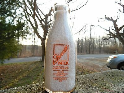 Ellsworth's Milk Huntingburg Indiana Quart Pyro Milk Bottle