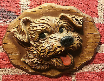 Vintage Resin Wall Hanging  Happy Dog  Some Sort of Terrier