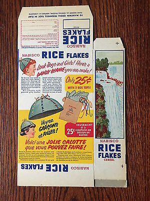 1950's Nabisco Rice Flakes Beanie Cap Offer Cereal Box Vintage - Rare Flat Mint