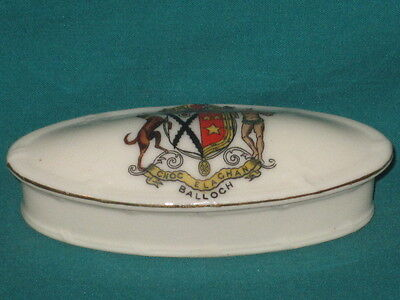 Arcadian China Oval Pillbox & Lid - BALLOCH crest