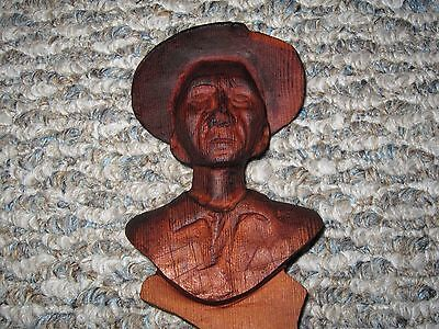 1967 Vintage Wooden Carving Bust Fred Bear Archery Recurve Long Bow Deer Hunting