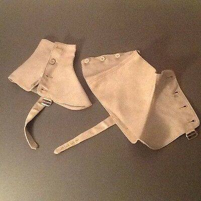 Vintage grey canvas spats/gaiters size 6 made by The Diamond Gaiter made in Engl