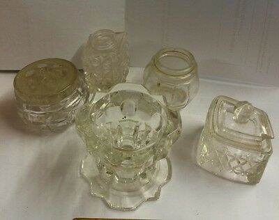 Glass mustard pot and other glass bits