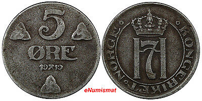 Norway Haakon VII Iron 1919 5 Ore WWI Issue KM# 368a