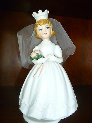 "Vintage Schmid Revolving Musical Bride Figurine ""Here Comes the Bride"" Music Box"