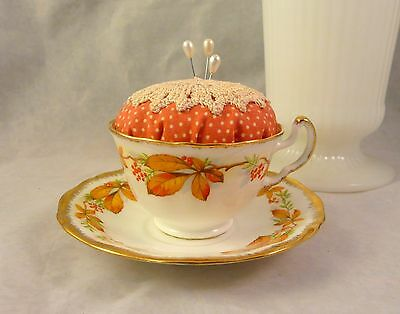 Adderly Teacup Saucer Pincushion Fall Leaves Repurposed