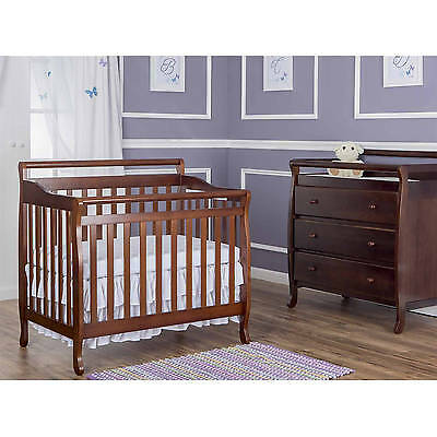 Convertible Baby Crib NO Mattress Toddler Nursery Bed Changer Side Espresso