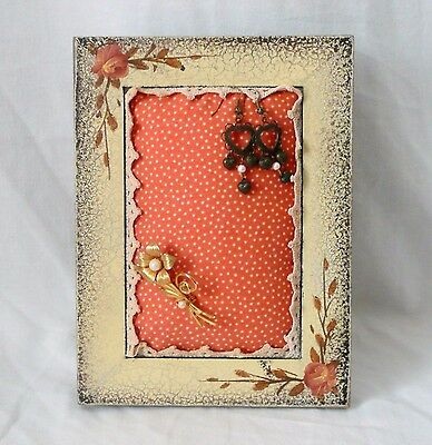 Picture Frame Jewelry Holder Pincushion Upcycled Repurposed Photo Frame