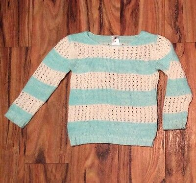 Girls blue white striped jumper sweater size 4