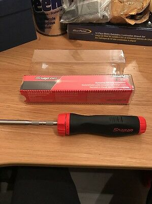 Snap On Soft Grip Ratchet Screwdriver NEW In Red With 2 Bits