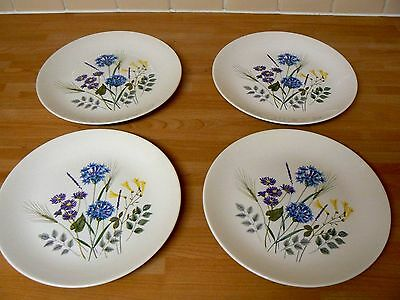 """4 Ridgway Country Garden 9"""" Small  Dinner / Salad  Plates Made in England"""