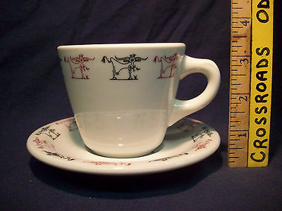 Vintage Western Sizzlin Steak House Shenango China Coffee Cup & Saucer EXCELLENT