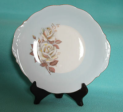 """Queen Anne turquoise  """"Autumn Rose"""" cake plate"""
