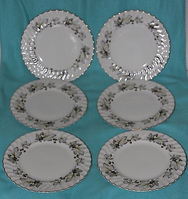6x H. AYNSLEY & CO. SILVER MAPLE plates (diameter 26cm)