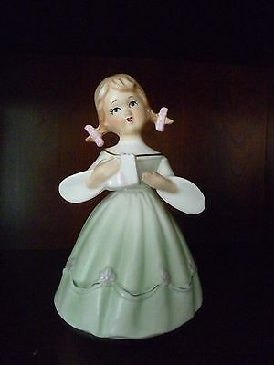 "Vintage Schmid Revolving Porcelain Musical Figurine ""Happy Birthday"" Music Box"