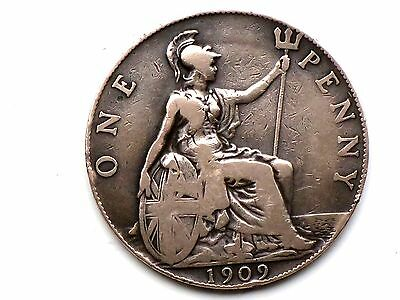 RARE 1909 King EDWARD VII ONE PENNY   Coin