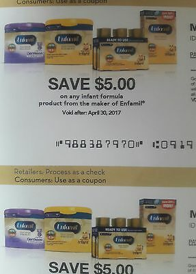 $20.00 WORTH OF ENFAMIL COUPONS (expire 4-30-2017) 4 coupons, $5 each.
