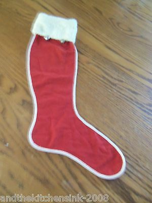 Vintage Antique Handmade Red & White Christmas Stocking from 1940's