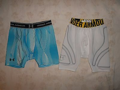 Under Armour Boy's  Base Layer Fitted Shorts~2 Pairs~Youth Large 14/16