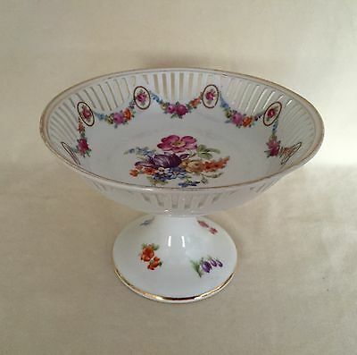 Beautiful Antique Bavarian Reticulated Bolted Pedestal Bowl Hand Painted Flowers