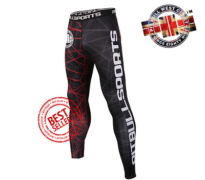 Pit Bull West Coast Red Ray Compression Pants MMA BJJ + FREE 1st Class Sign For