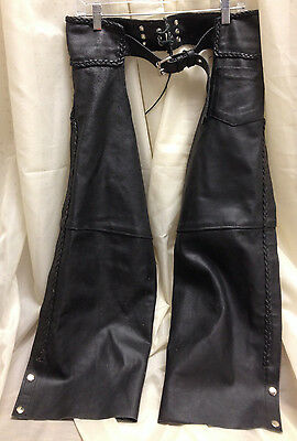 *****closeout Price**** Hot Leathers Black Leather Motorcycle  Chaps Size Xlg