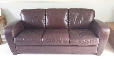 3-seater Brown Leather Sofa