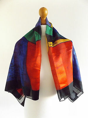 Beautiful Vintage 70's Blue/red/green Picasso Design Silk Square Scarf.