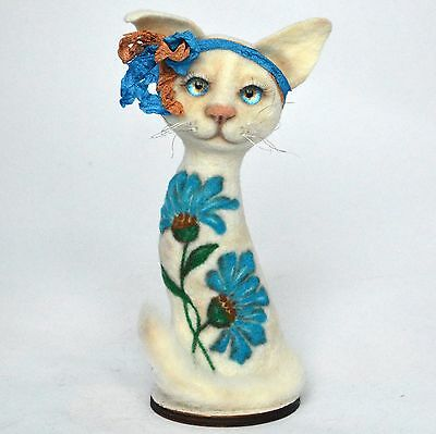 OOAK felted white cat with blue ornament on her body, 7 ¾in.