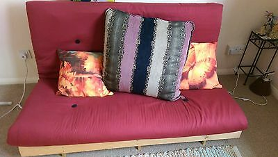 Futon with mattress and cushions