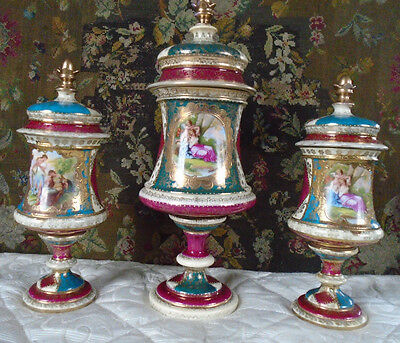 Spectacular Three Royal Vienna Style Antique Urns Kauffmann -  Read carefully