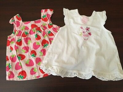F* Girls ~ Lot Of 2 ~  Short Sleeve  Tops Size ~ Pink Strawberry/white 6-9 M